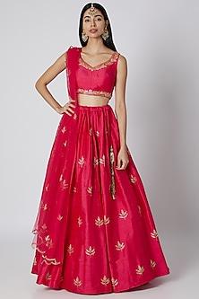 Fuchsia Pink Zardosi Embroidered Lehenga Set by Ease