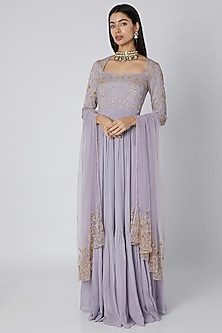 Lavender Embroidered Jaal Anarkali With Dupatta by Ease