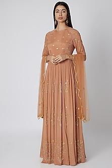Mauve Pink Embellished Anarkali With Dupatta by Ease