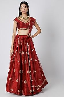 Red Zardosi Embroidered Lehenga Set by Ease