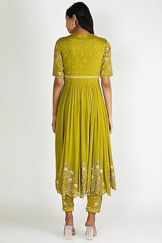 Olive Green Embroidered Anarkali Set by Ease