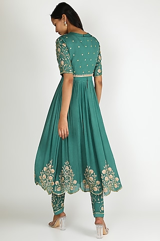 Turquoise Embroidered Anarkali Set by Ease