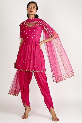 Rani Pink Embroidered Sharara Set by Ease