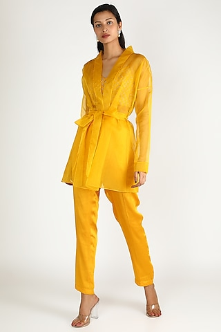 Mustard Embroidered Jacket Set by Ease