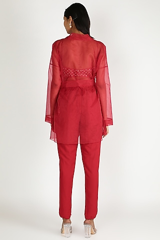 Red Embroidered Jacket Set by Ease