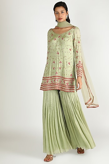 Pista Green Embroidered Sharara Set by Ease