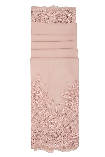 Baby Pink Beads Embroidered Stole by Eastern Roots
