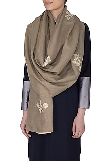 Beige Reversible Embroidered Stole by Eastern Roots