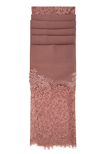 Dark Onion Pink Beads Embroidered Stole by Eastern Roots