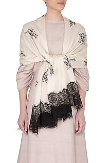 Cream & Black Lace Stole by Eastern Roots