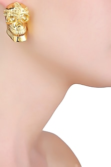 Gold Finish Momento Mori Earrings by Eina Ahluwalia