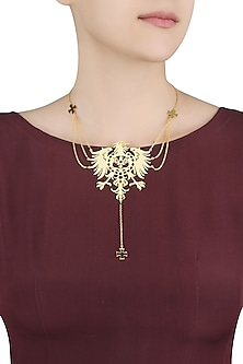 Gold Plated Fearless Multiple Chains Lariat Necklace by Eina Ahluwalia