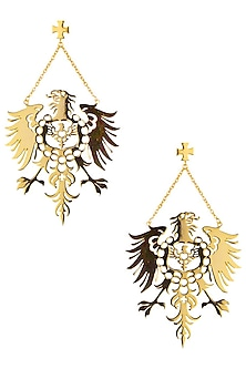 Gold Plated Fearless Earrings by Eina Ahluwalia