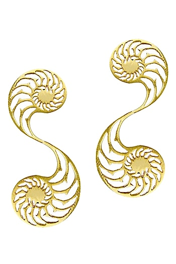 Gold plated nautilus big earrings by Eina Ahluwalia