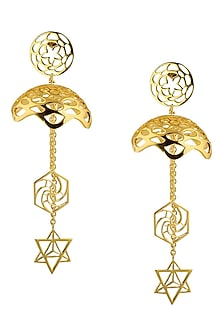 Lotus Fractal Drop Jhumki Earrings by Eina Ahluwalia
