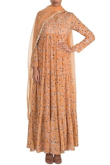 Yellow Embroidered Printed Anarkali With Dupatta by Ease