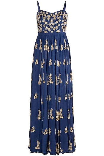 Royal Blue Embroidered Gown by Ease