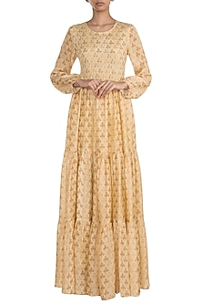 Yellow Embroidered Printed Maxi Dress by Ease
