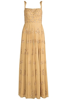 Yellow Embroidered Gown by Ease