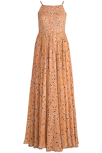 Peach Embroidered Printed Anarkali With Dupatta by Ease