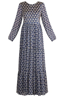 Blue Embroidered Printed Maxi Dress by Ease