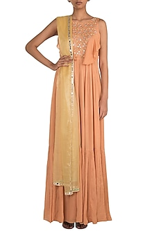 Peach Embroidered Anarkali & Yellow Dupatta by Ease
