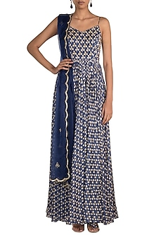 Blue Embroidered Printed Singlet Anarkali With Dupatta by Ease