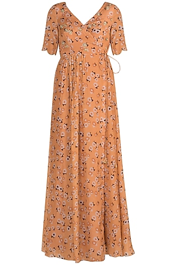 Peach Embroidered Printed Tie-Up Kurta by Ease