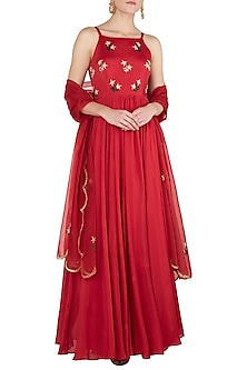 Red Floral Embroidered Anarkali Gown Set by Ease