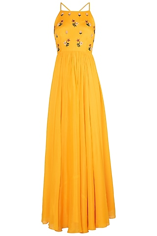 Yellow Embroidered Anarkali Gown Set by Ease