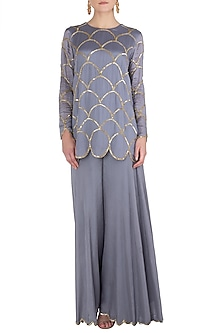 Lilac Embroidered Kurta with Palazzo Pants by Ease
