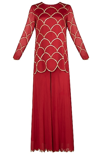 Red Embroidered Kurta with Palazzo Pants Set by Ease