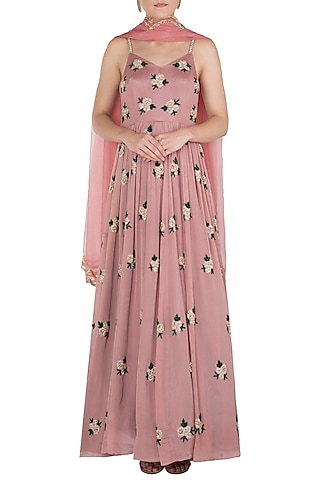 Mauve Embroidered Anarkali Gown Set by Ease