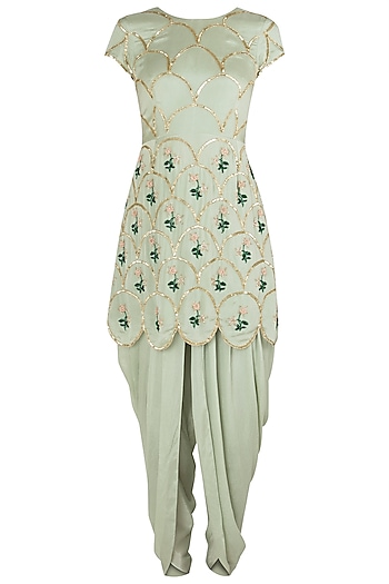 Pista Green Embroidered Kurta with Dhoti Pants Set by Ease