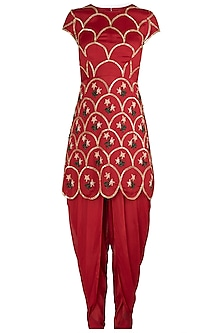 Red Embroidered Kurta with Dhoti Pants Set by Ease