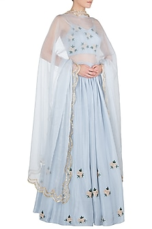 Powder Blue Embroidered Lehenga Set by Ease