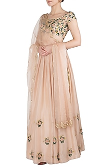 Beige Embroidered Lehenga Set by Ease