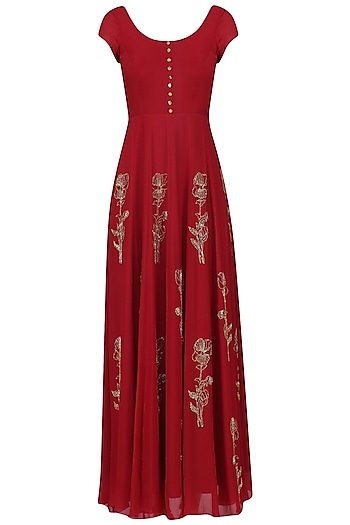 Crimson Red and Mauve Pink Embroidered Anarkali Set by Ease