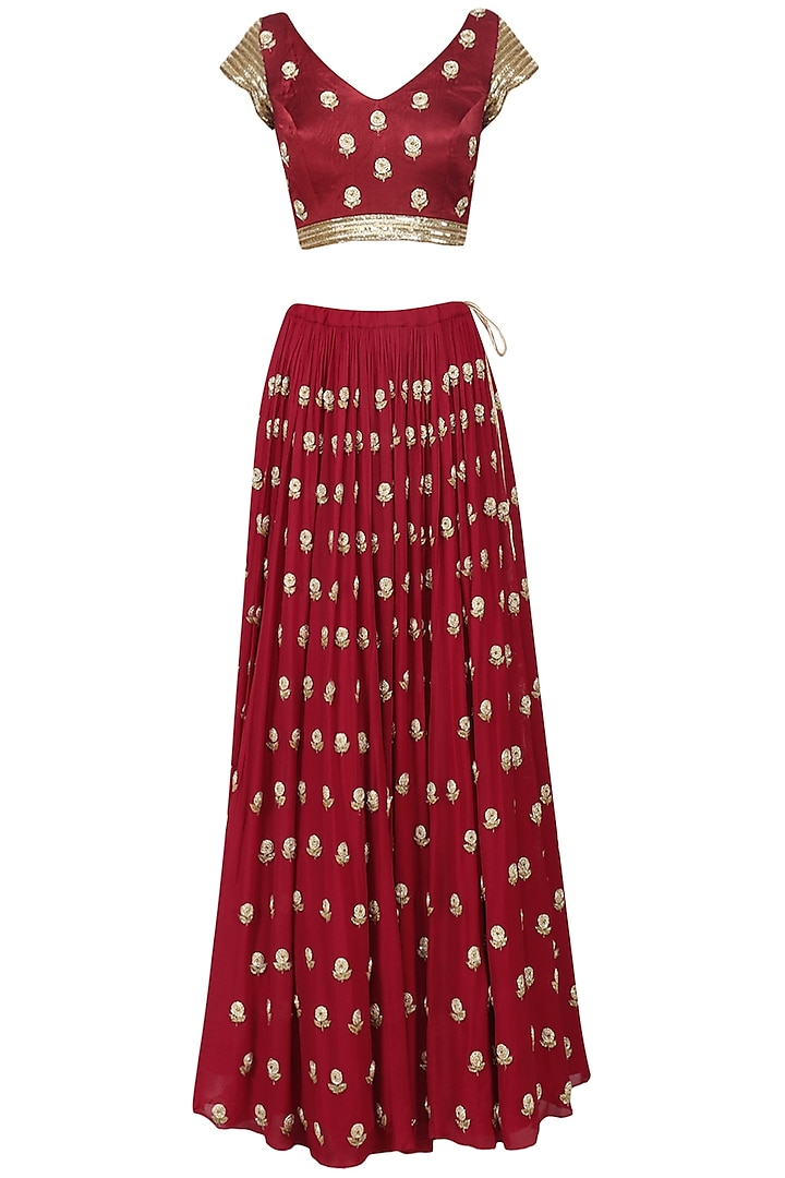 Crimson Red Embroidered Lehenga Set by Ease