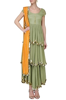 Pistagreen and Mango Yellow Embroidered Layered Anarkali Set by Ease