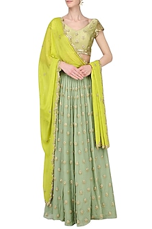 Pista and Lime Embroidered Lehenga Set by Ease