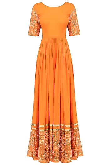 Tangerine and Pista Embroidered Anarkali Set by Ease