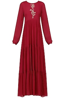 Red Layered Maxi Dress by Ease
