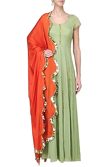 Pista and Orange Embroidered Anarkali Set by Ease
