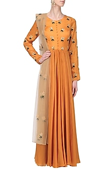Mustard and Beige Embroidered Anarkali Set by Ease