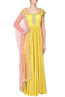Lemon Yellow Embroidered Anarkali Set by Ease