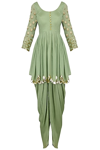 Pista Embroidered Peplum Kurta and Dhoti Set by Ease