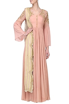 Mauve Pink Embroidered Anarkali Set by Ease