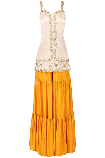 Off White and Mango Yellow Embroidered Sharara Set by Ease