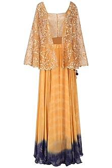 Orange and gold embroidered top with shaded skirt by EAU
